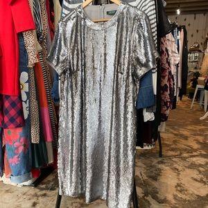 RALPH LAUREN size 14 silver sequins shift dress
